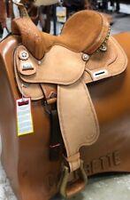 "Big Horn 14"" Barrel Racing Saddle Medium Oil Tooled Leather Reg QH Bars 1463 NEW"