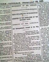 ABRAHAM LINCOLN Trip to White House Pre Inauguration & Civil War 1861 Newspaper