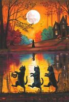 4X6 HALLOWEEN POSTCARD PRINT LE 5/200 RYTA BLACK CAT WITCH HAUNTED HOUSE ART