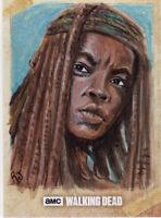 Topps The Walking Dead Season 6 Michonne Sketch Card Jimenez Original Art