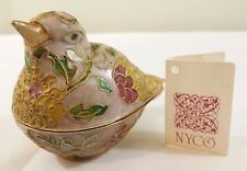 NYCO figurine Cloisonne Finch Bird jewelry Trinket box Pink Gold Enamel