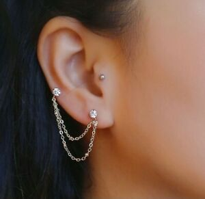 1 Pair Korean Gold Zircon Two Layers Chain Fashion Double Piercing Earrings 4cm