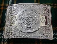 Men's Celtic Knot Work Kilt Belt Buckle Chrome/Scottish Kilt Belt Buckles Celtic