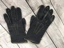 Vintage 50s 60s Fairfield Glove Company sz 10.5 Black Embossed Leather Gloves