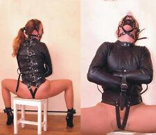 Black Asylum Straight Jacket Costume S/M L/XL BODY HARNESS Restraint Armbinder