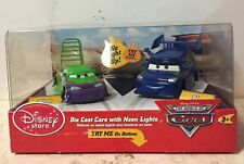 Disney Store CARS 1 Die Cast Cars with Neon Lights WINGO & DJ  Original Rare Set