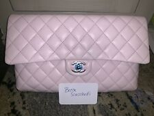 Chanel Timeless Classic Flap Lt Pink Lambskin Clutch Bag NWT 18S