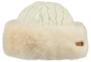 2020 NEW ADULT BARTS FAUX FUR FLEECE LINED CABLE KNIT BANDHAT BAND HAT WHITE
