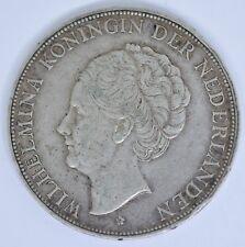 1929 Wilhelmina 2 1/2 Gulden SIlver Netherlands Coin