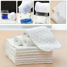 10Pcs Cotton Cloth Baby Diapers Insert Liners 3 Layers Reusable