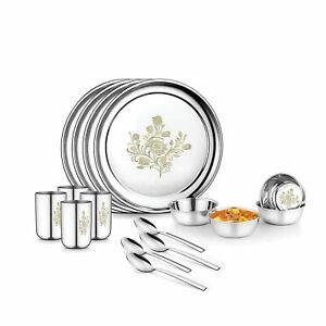 16 PCs Stainless Steel Dinner Service Set Permanent Laser Design Dining Set