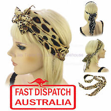 Animal Skin Leopard Print Hair Head Wrap Band Costume Turban Scarf Headband