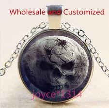 Vintage Skull Moon Cabochon Tibetan silver Glass Chain Pendant Necklace #4921