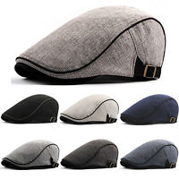 Men's Ivy Cotton Newsboy Gatsby Cap Flat Bonnet Cabbie Strapback Beret Golf Hat
