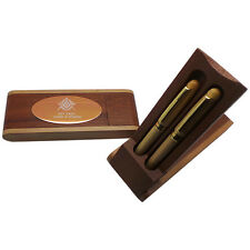 FREE ENGRAVING MASONIC FREEMASON LUXURY WOOD PEN Double Set Custom Engraved