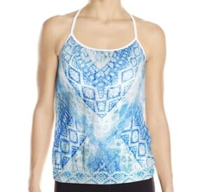 Prana Meadow Top XS Tank Cove Blue White Print Tank Shirt Strappy