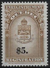 Canada Revenue VanDam #QR36 brown & black Quebec Registration Stamp MNH
