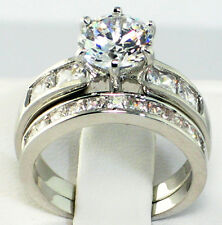 Bridal Engagement Ring Set - Size 8 Classic 3.86 Ct. Cz Platinum Ep Wedding