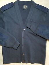 Military Equip Sweater Blue Acrylic/Wool Button Elbow Patch Epaulets Men's 42R