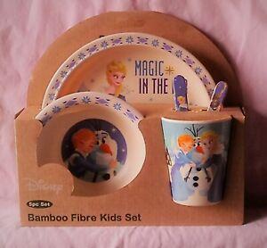 NEW DISNEY Frozen 5 pc Bamboo Fibre Kids Dinnerware Set Elsa Anna Olaf