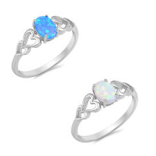 Blue & White Australian Opal with Hearts .925 Sterling Silver Engagement Ring