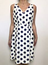 DAVID LAWRENCE off white with blue spot sleeveless dress lined sz 10 silk outer