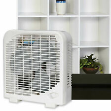 2 Speed Tabletop Box Fan 9 Inch Compact Quiet Home Office, White