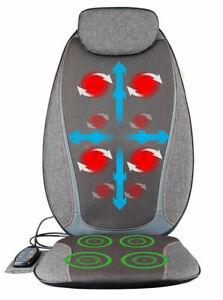 Shiatsu Massage Mat Grey Heated Back Neck Relaxing Massaging Car Chair MEDIVON