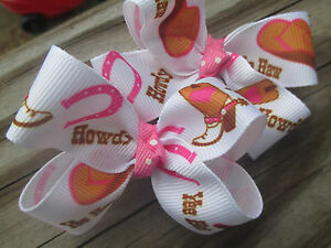 """Hair Bows a pair of Med 2"""" Cowgirl Boots and Hat Howdy and Yee Haw Bows USA"""
