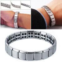 Bracelet Titane Magnétique Acier Inox Aimant Bio Santé Bijoux Femme Homme