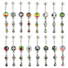 Steel Ball Belly Button Bar Navel Ring Barbell Body Piercing Dance Jewellery
