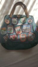 Cath Kidston Denim Doctor's bag with Brown Leather Handles. Stitched on badges