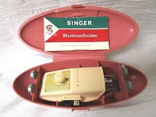 Vintage SINGER 60s Sewing Machine Pink Case BUTTONHOLER #489500/489510