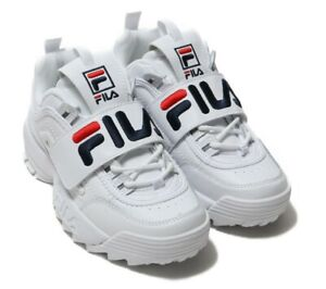 FILA DISRUPTOR 2 Applique Women's White Leather Lace-up Chunky Sneakers