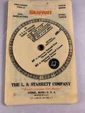 Starrett Tool Company 1936 Pipe Screw Die Thread Chart Athol MA Vintage Tool