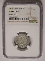 AUSTRIA coin 5 Kreuzer 1815 A NGC AU About Uncirculated grade