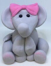 Edible Elephant Girl, Birthday, Christening, Baby Shower Handmade Cake Topper