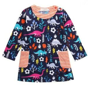 Frogwill Toddler Girls Long Sleeve Dinosaur Tunic Dress Multicolor Size 3T 7783