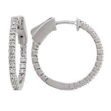 14k White Gold Diamond Huggies, 0.40tdw (NEW hoop earrings design, 19mm) 4458