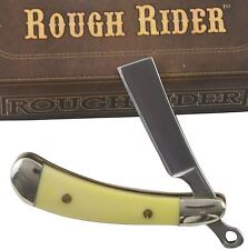 "Rough Rider Yellow Smooth Handles Mini Razor Pocket Knife RR1362 2"" Closed"