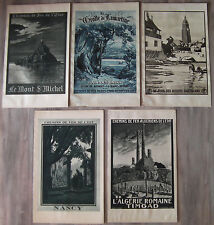 5 anciennes lithographies début XXème affiches publicitaires chemins de fer