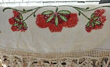 Antique Linen Round Tablecloth Turkey Red Flowers Absolutely Gorgeous