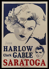 SARATOGA ☆ Clark Gable & Jean Harlow ☆ Leader Press ☆ 1937 ORIGINAL MOVIE POSTER