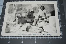 DON'T TAKE MY Picture! WOMAN HIDES FACE w/ PAPER @ Beach Vintage Snapshot PHOTO