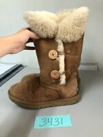 UGG Bailey Button Triplet Womens Sz 8 US Brown Sheepskin Lined Winter Boots 1873