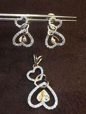 0.79 Cts Round Brilliant Cut Diamond Heart Pendant Earrings Set In Fine 14K Gold
