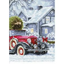 Stickpackung Stickbild sticken 24x33 cm Winter Holidays Oldtimer Weihnachtsbaum