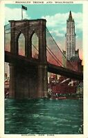 Vintage Postcard - Brooklyn Bridge And Woolworth Building New York NY #3618