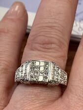 "14K Solid WG Princess & Round,1.30ctw Diamond Engagement Wedding Ring 6 3/4""7.2g"