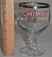 Chimay Footed Glass Goblet Silver Trim Trappist Ale Belgium Beer Chalice GUC